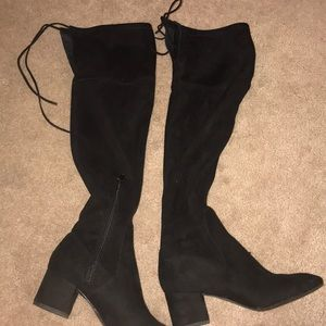 Thigh high suede booties